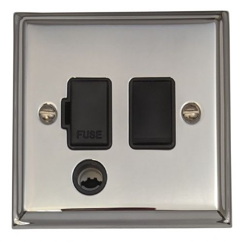 G&H DC56B Deco Plate Polished Chrome 1 Gang Fused Spur 13A Switched & Flex Outlet